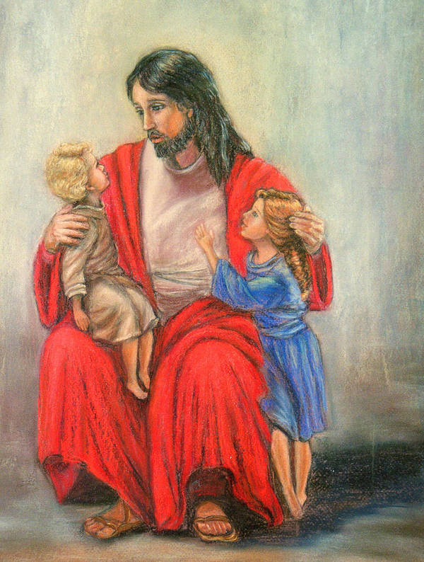Jesus Art Print featuring the painting Jesus And The Children by Terry Sita