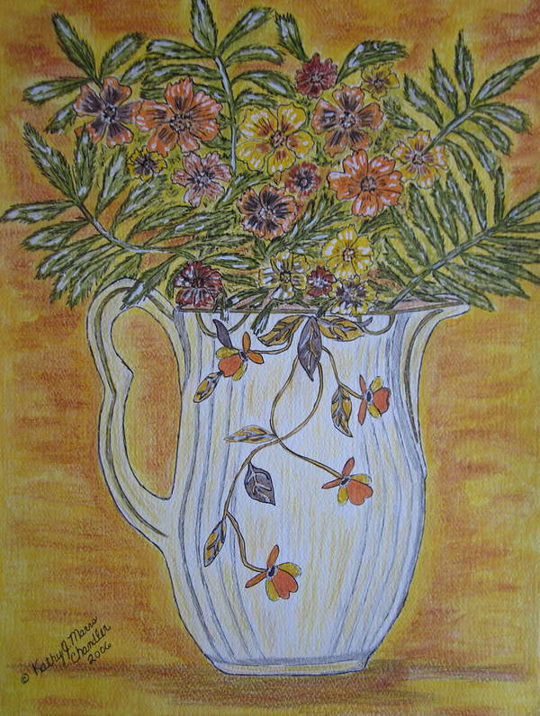 Jewel Tea Art Print featuring the painting Jewel Tea Pitcher With Marigolds by Kathy Marrs Chandler
