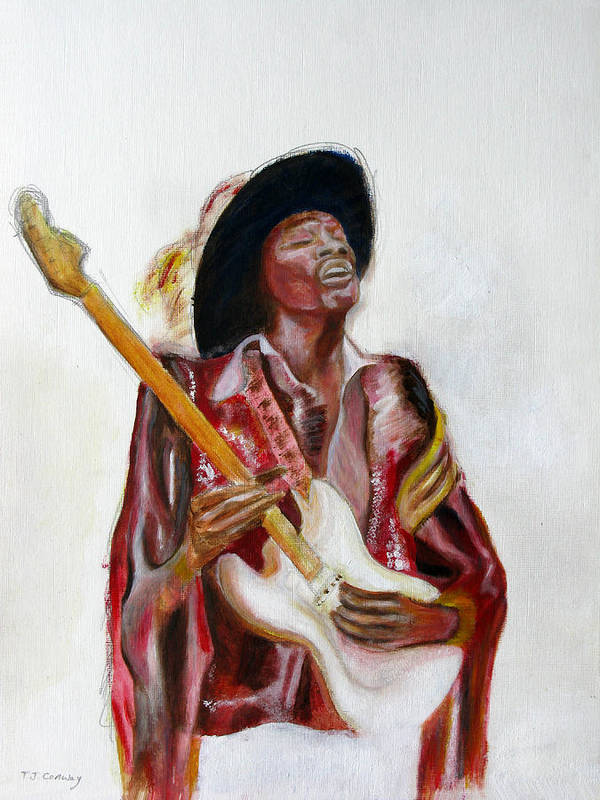 Jimi Hendrix Art Print featuring the painting Jimi by Tom Conway