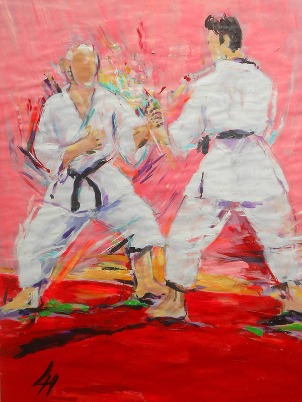 Jiyu Kumite Art Print featuring the painting Jiyu Kumite by Lucia Hoogervorst