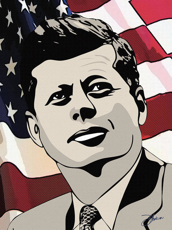 Ignacio Art Print featuring the drawing John F. Kennedy 1st Irish Catholic President by Dancin Artworks