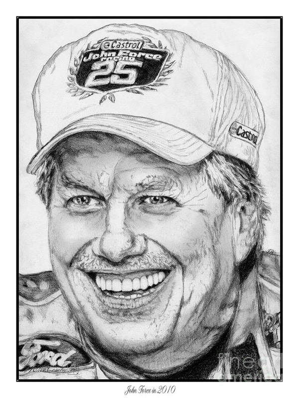 Mccombie Art Print featuring the drawing John Force In 2010 by J McCombie