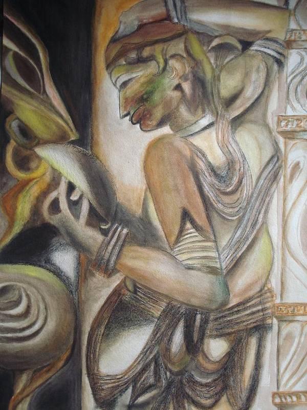 Dancing Girl Art Print featuring the painting Khajuraho Tantrik Dancer Applying Make-up by Prasenjit Dhar
