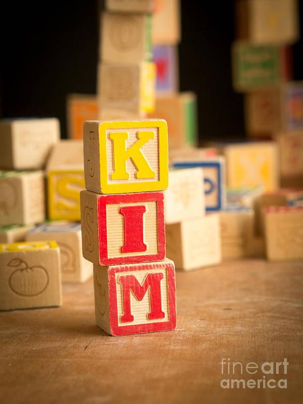 Abs Print featuring the photograph Kim - Alphabet Blocks by Edward Fielding