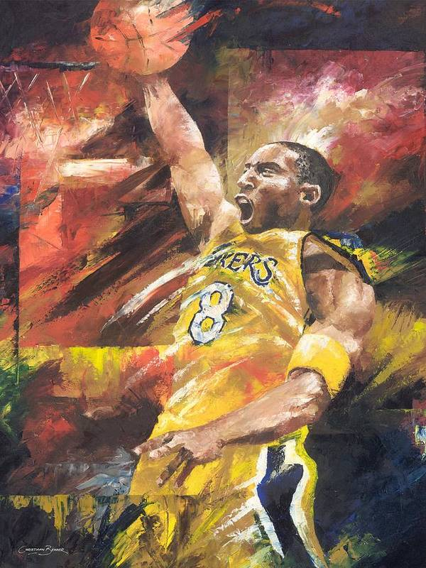 Sports Art Print featuring the painting Kobe Bryant by Christiaan Bekker