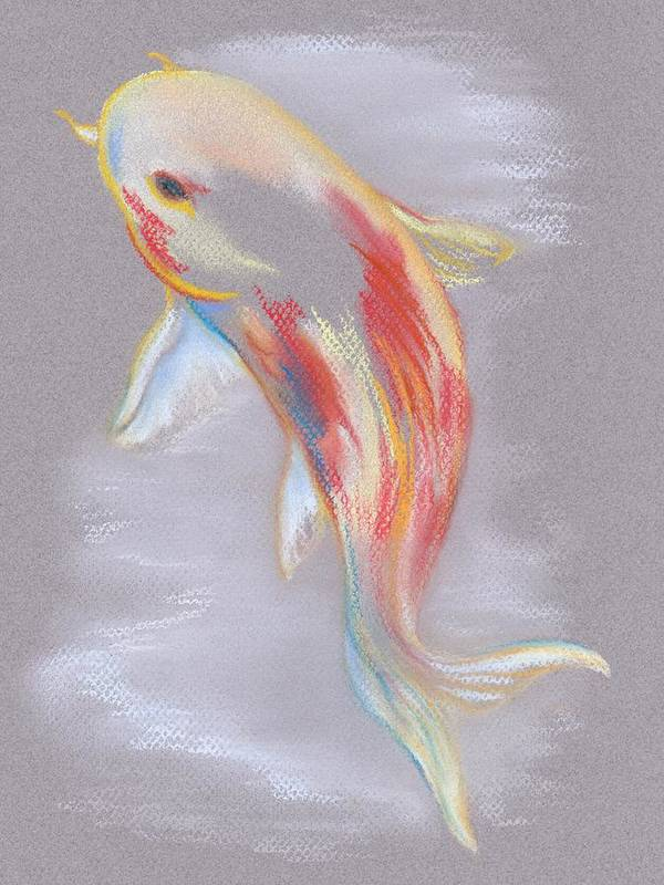 Koi Art Print featuring the pastel Koi Fish Swimming by MM Anderson