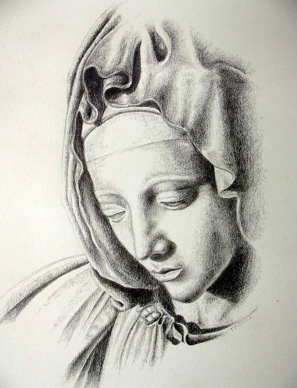 Religious Art Print featuring the drawing La Pieta Madonna by Heather Calderon