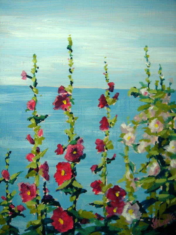 Lake Art Print featuring the painting Lakeside Hollyhocks by Judy Fischer Walton