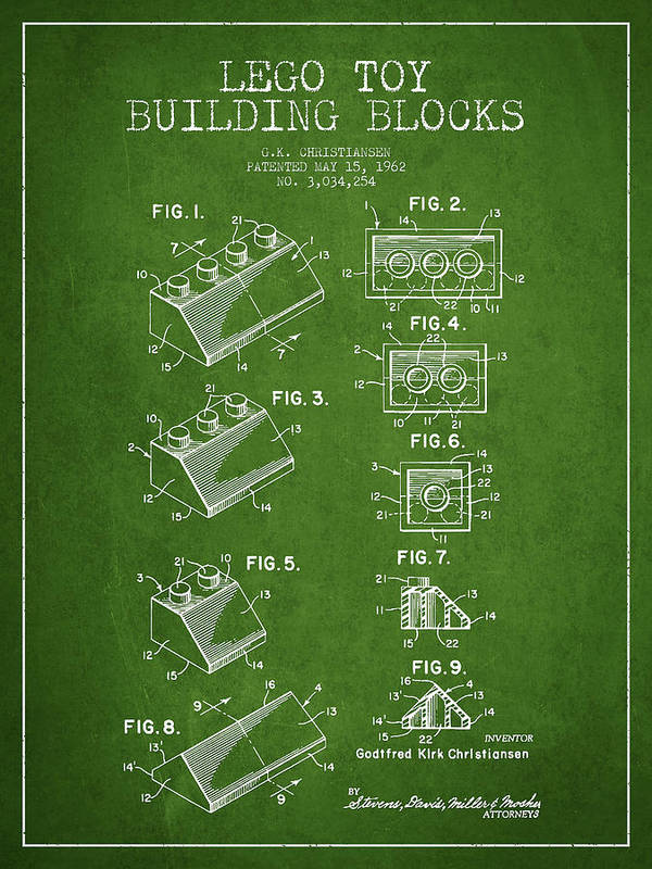 Lego Print featuring the drawing Lego Toy Building Blocks Patent - Green by Aged Pixel