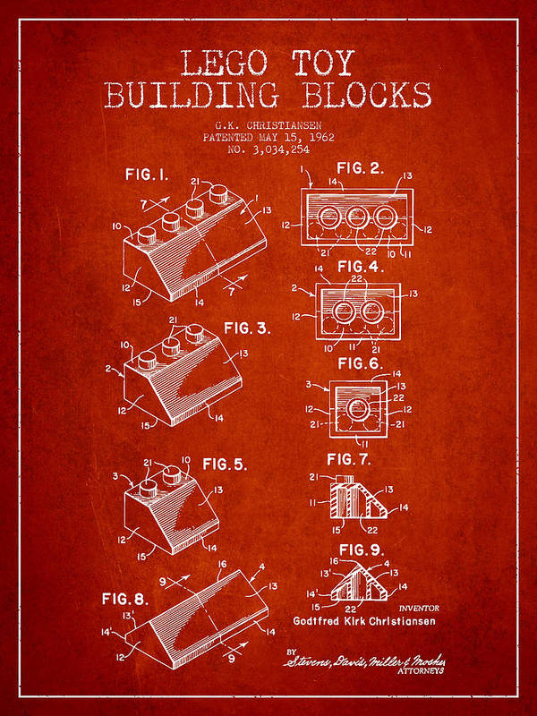 Lego Art Print featuring the drawing Lego Toy Building Blocks Patent - Red by Aged Pixel