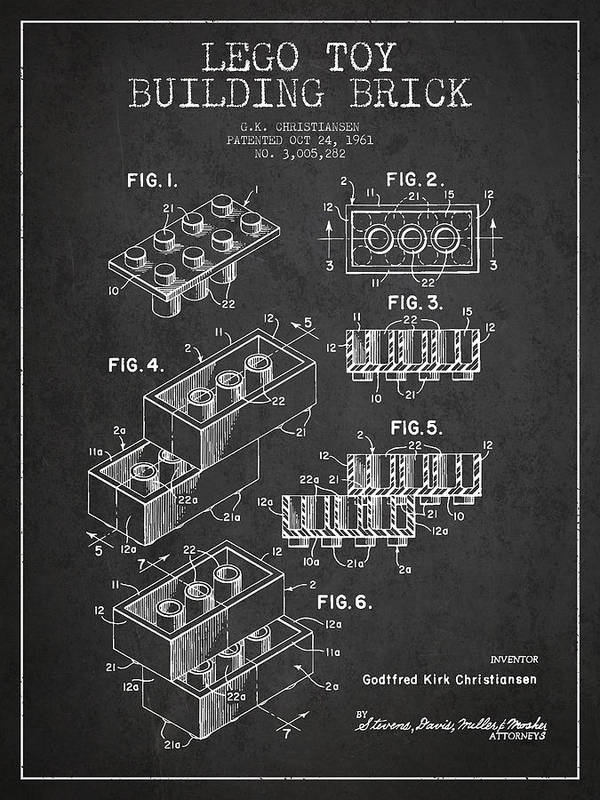 Lego Art Print featuring the drawing Lego Toy Building Brick Patent - Dark by Aged Pixel
