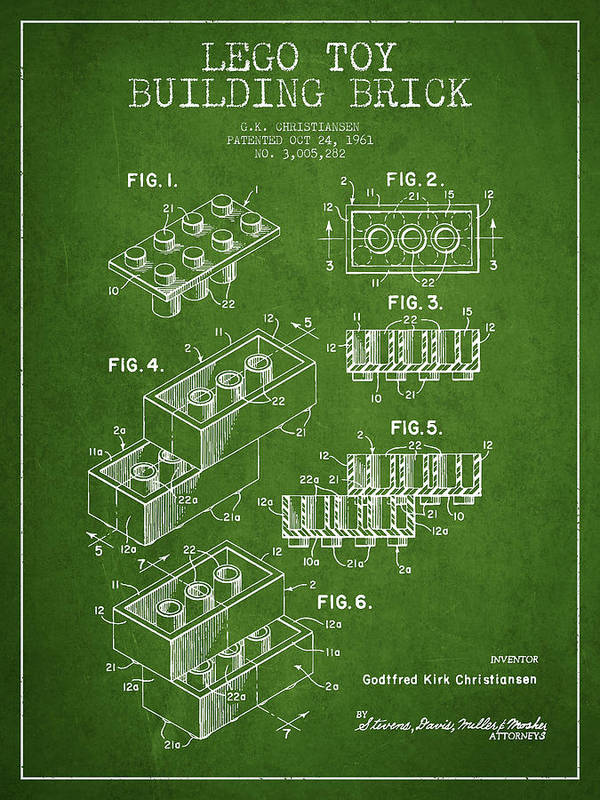 Lego Art Print featuring the drawing Lego Toy Building Brick Patent - Green by Aged Pixel