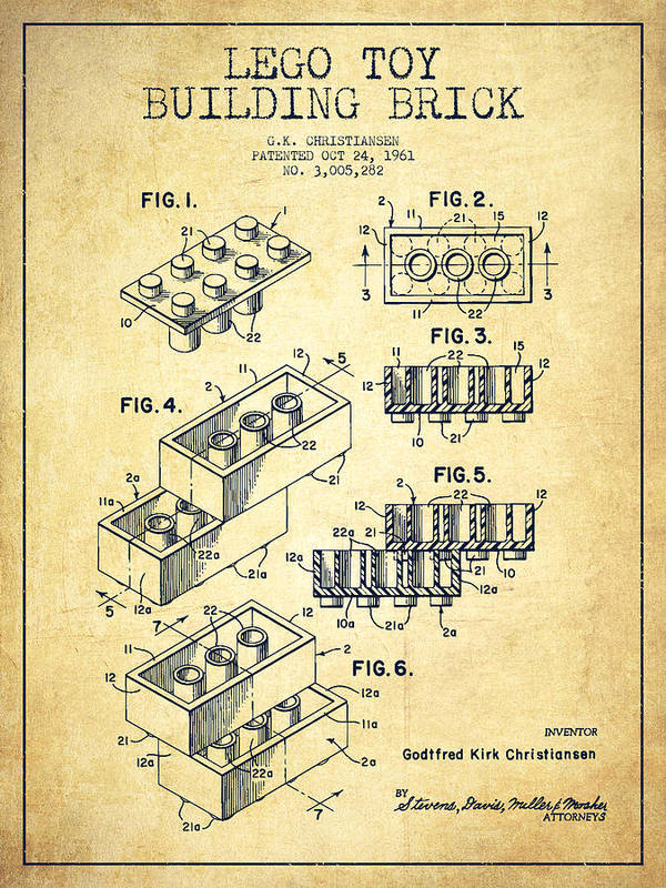 Lego Print featuring the drawing Lego Toy Building Brick Patent - Vintage by Aged Pixel