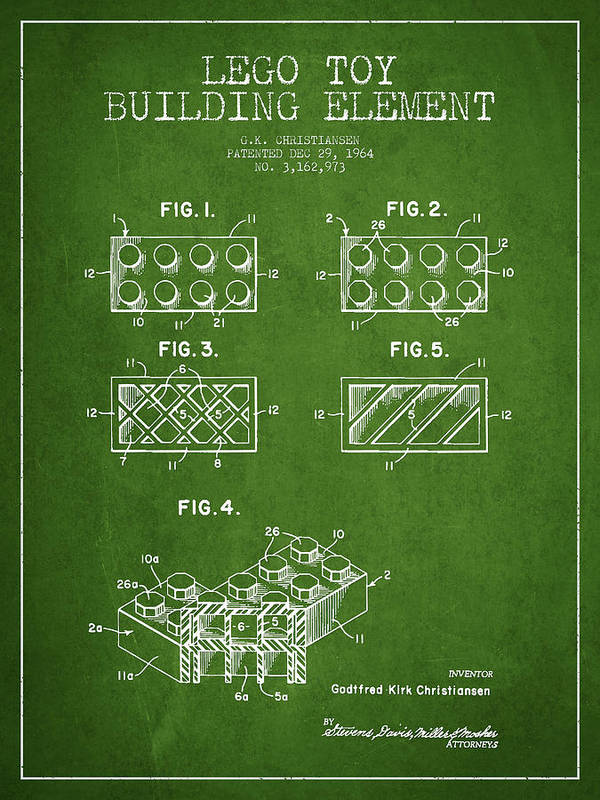 Lego Art Print featuring the drawing Lego Toy Building Element Patent - Green by Aged Pixel