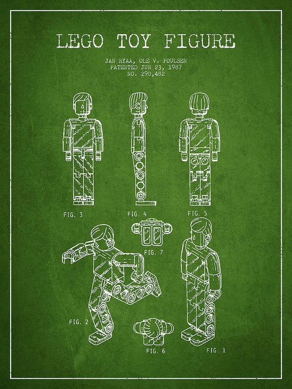 Lego Art Print featuring the drawing Lego Toy Figure Patent - Green by Aged Pixel