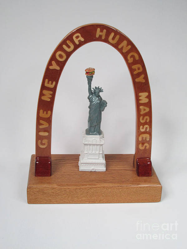 Wood Art Print featuring the sculpture Liberty With Burger Hold The Frys #98 by Bill Czappa