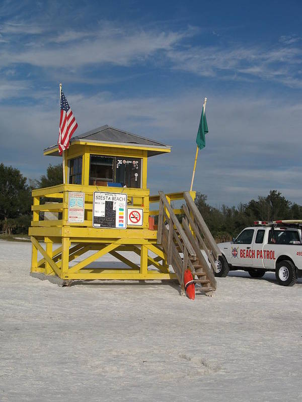Beach Art Print featuring the photograph Lifeguard And Beachpatrol by Christiane Schulze Art And Photography