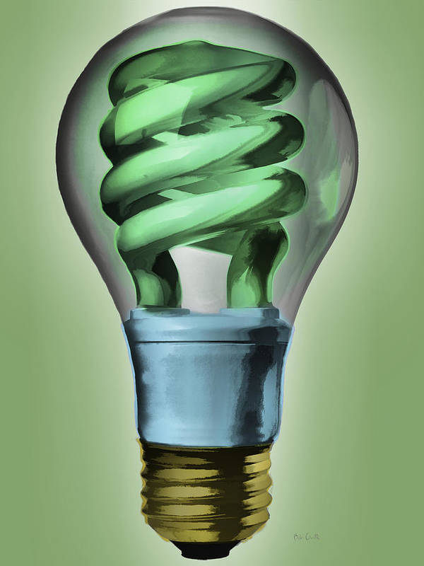 Light Art Print featuring the painting Light Bulb by Bob Orsillo