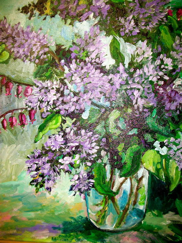 Lilacs Art Print featuring the painting Lilacs by Carol Mangano