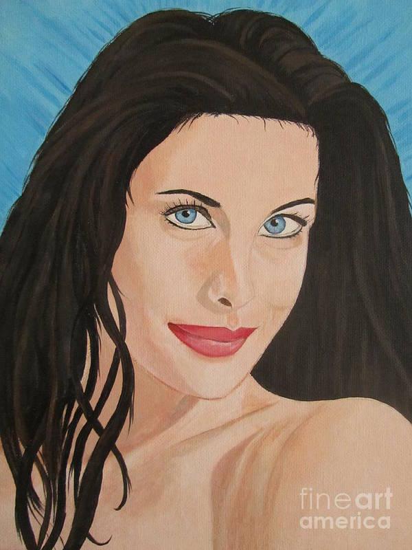 Liv Tyler Portrait Art Print featuring the painting Liv Tyler Painting Portrait by Jeepee Aero