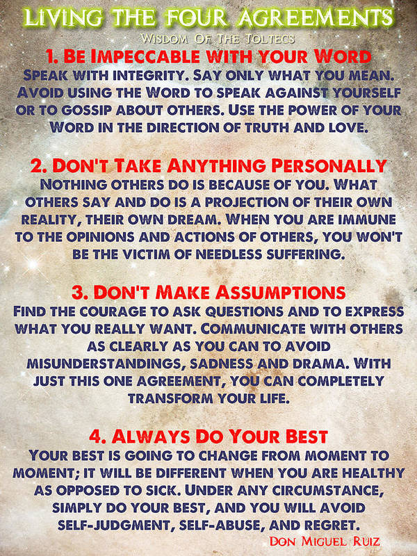 Living The Four Agreements Wisdom Of The Toltecs Art Print By