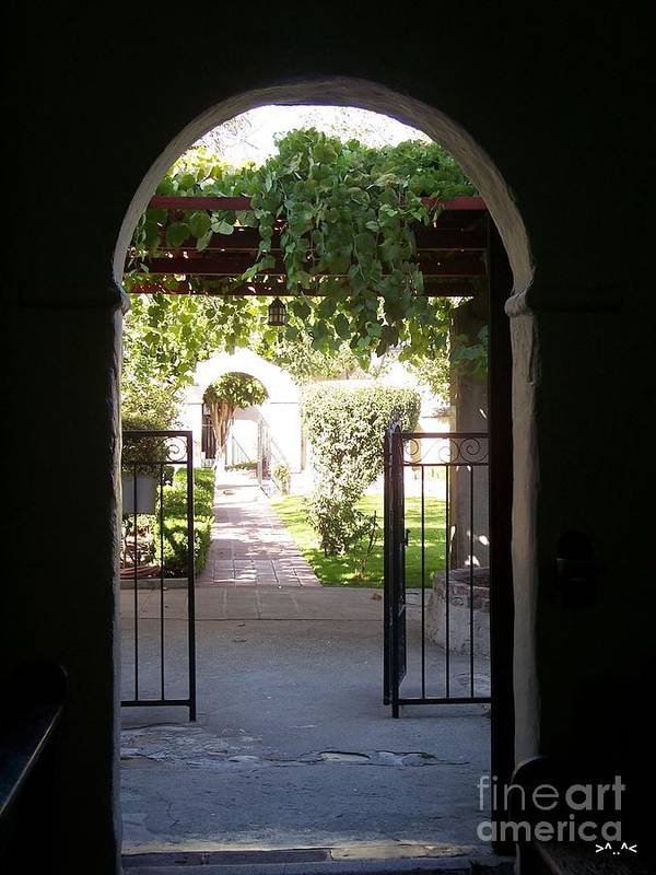 San Gabriel Mission Art Print featuring the photograph Looking Toward The Garden by Kimberly-Ann Talbert