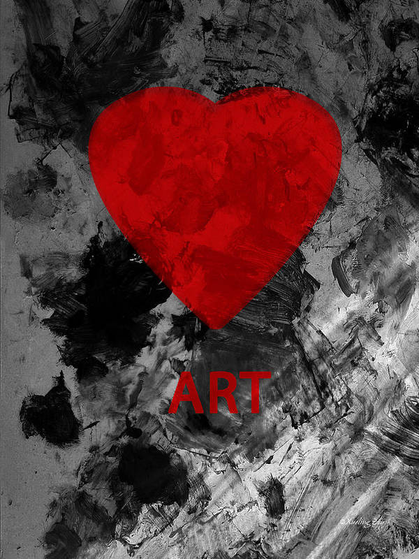 Love Art Art Print featuring the mixed media Love Art 1 by Xueling Zou