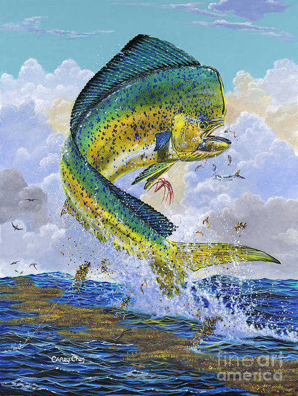 Dolphin Art Print featuring the painting Mahi Hookup Off0020 by Carey Chen