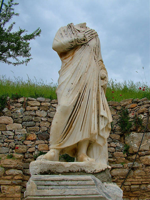 Many Sculptures Lost Their Heads In Ephesus Art Print featuring the photograph Many Sculptures Lost Their Heads In Ephesus-turkey by Ruth Hager