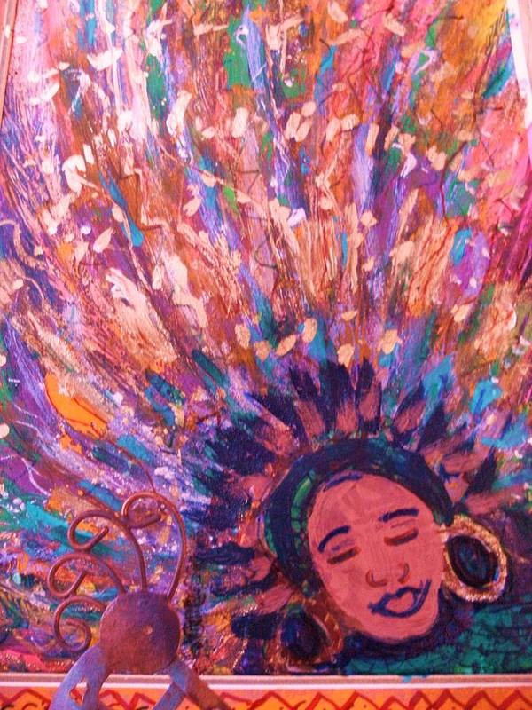 Bright Art Print featuring the mixed media Mardi Gras Girl Revisited by Anne-Elizabeth Whiteway