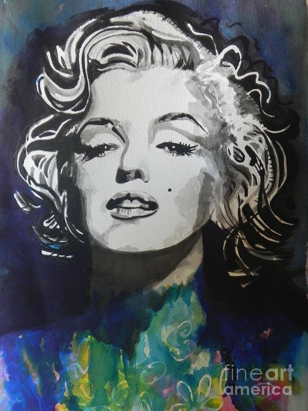 Watercolor Painting Art Print featuring the painting Marilyn Monroe..2 by Chrisann Ellis