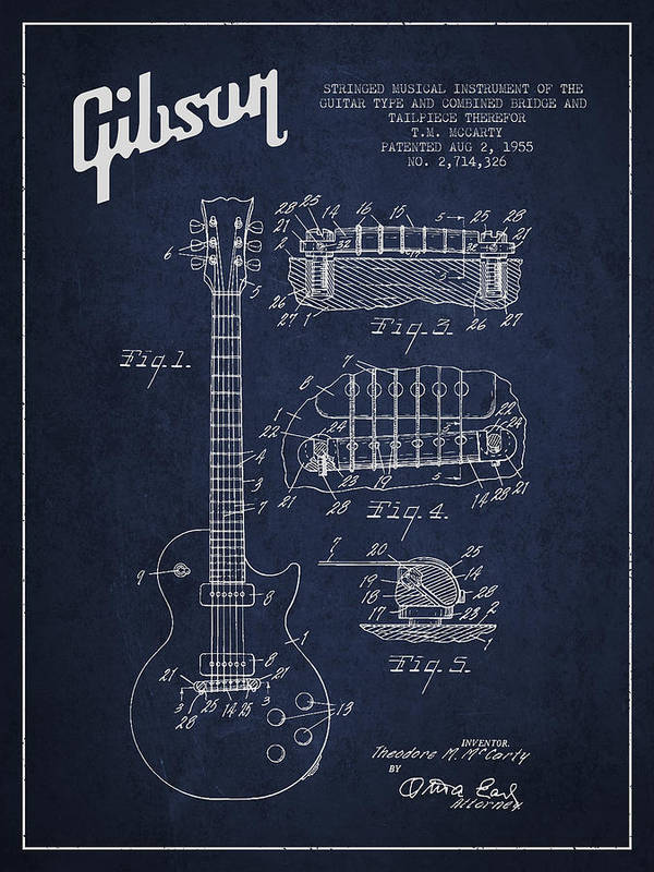 Gibson Art Print featuring the digital art Mccarty Gibson Les Paul Guitar Patent Drawing From 1955 - Navy Blue by Aged Pixel