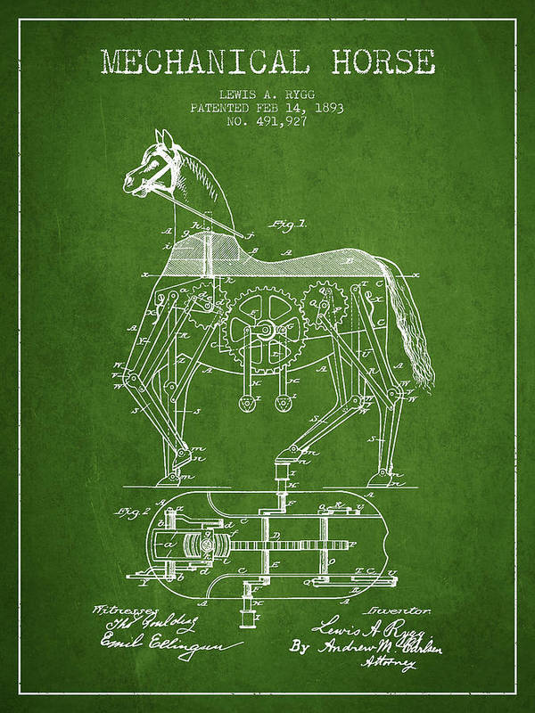 Horse Print featuring the drawing Mechanical Horse Patent Drawing From 1893 - Green by Aged Pixel
