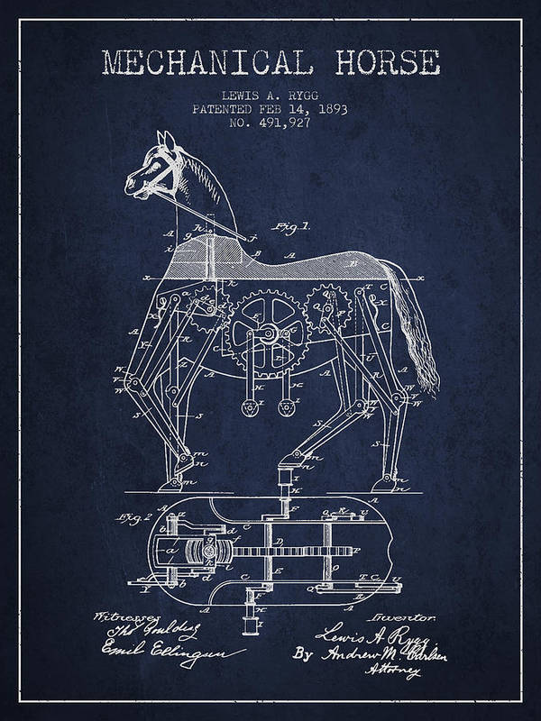 Horse Print featuring the drawing Mechanical Horse Patent Drawing From 1893 - Navy Blue by Aged Pixel