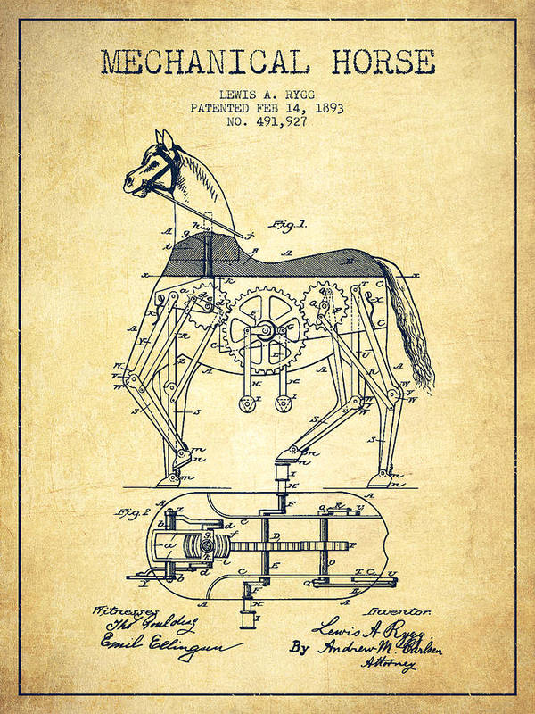 Horse Art Print featuring the digital art Mechanical Horse Patent Drawing From 1893 - Vintage by Aged Pixel