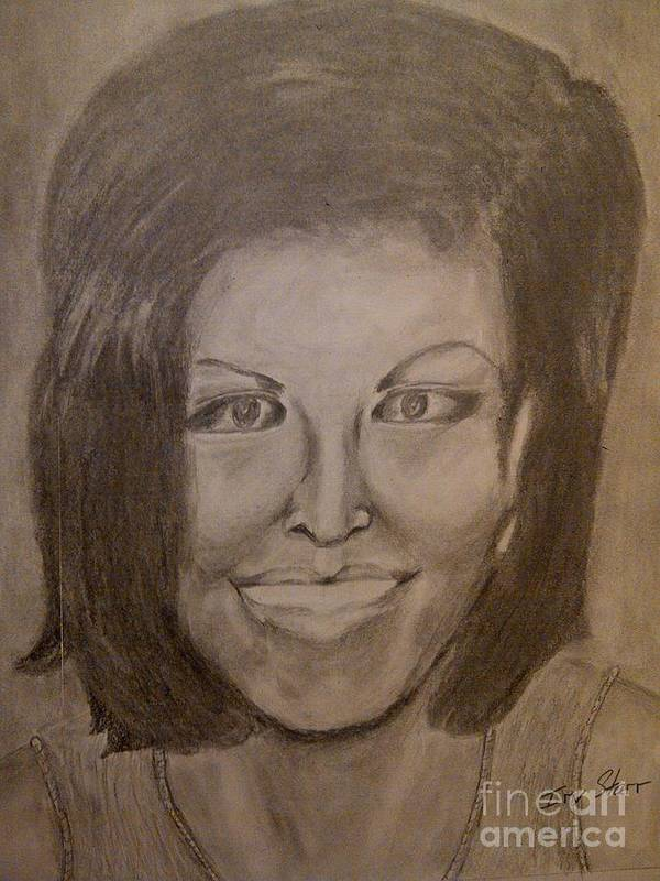 Michelle Obama President First Lady Black Woman History Politics Washington White House Heroin Portrait Ebony Civil Rights Smile Role Image Modern Politics United States Democrat Art Print featuring the drawing Michelle Obama by Irving Starr