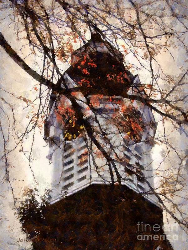 Clock Tower Art Print featuring the photograph Milford Clock Tower Vintage by Janine Riley