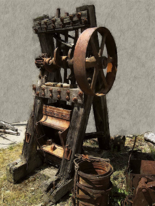 Mining Art Print featuring the digital art Mining Portable Stamp Mill by Daniel Hagerman