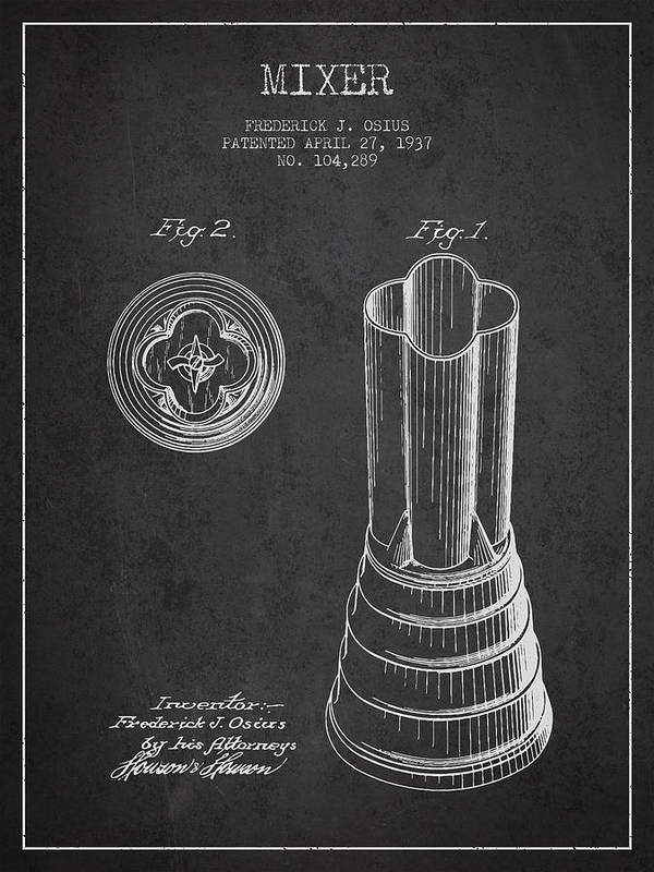 Blender Art Print featuring the digital art Mixer Patent From 1937 - Dark by Aged Pixel