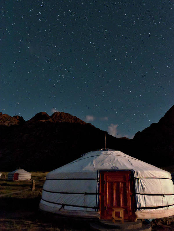 The Big Dipper Shines Over Our Yurt At The Khankhar-uul Camp In Art Print featuring the photograph Mongolia By Starlight by Alan Toepfer