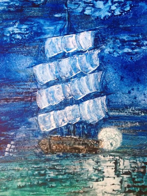 Original Art Print featuring the painting Moonlight by Kelli Perk