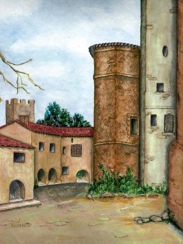 Pamela Allegretto Art Print featuring the painting Morcone by Pamela Allegretto