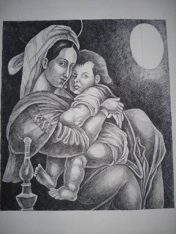 Mother Art Print featuring the painting Mother With Her Baby by Prasenjit Dhar