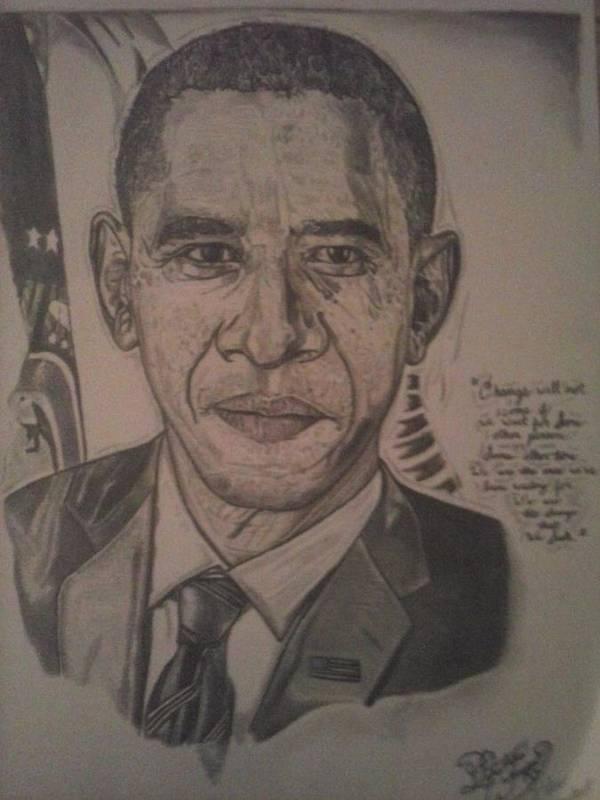 President Art Print featuring the drawing Mr. President by Demetrius Washington