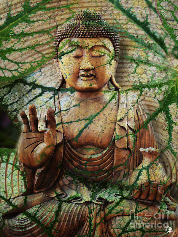 Buddha Art Print featuring the mixed media Natural Nirvana by Christopher Beikmann