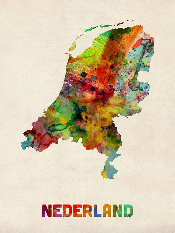 Map Art Art Print featuring the digital art Netherlands Watercolor Map by Michael Tompsett