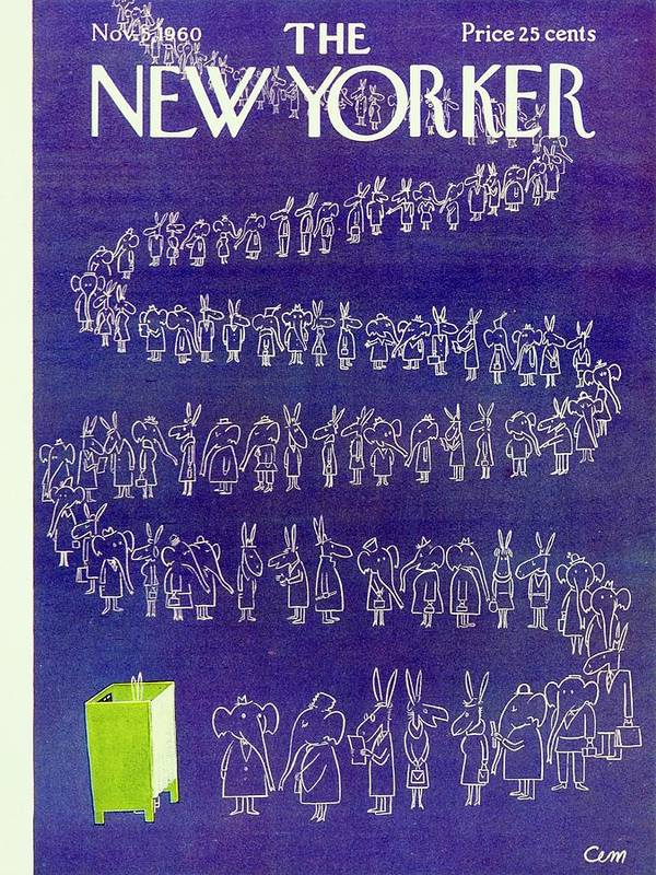Illustration Art Print featuring the painting New Yorker November 5th 1960 by Charles Martin
