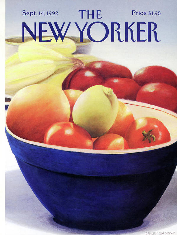 A Still-life Of A Blue Bowl Surrounded And Filled With A Variety Of Fruit. Art Print featuring the painting New Yorker September 14th, 1992 by Gretchen Dow Simpson