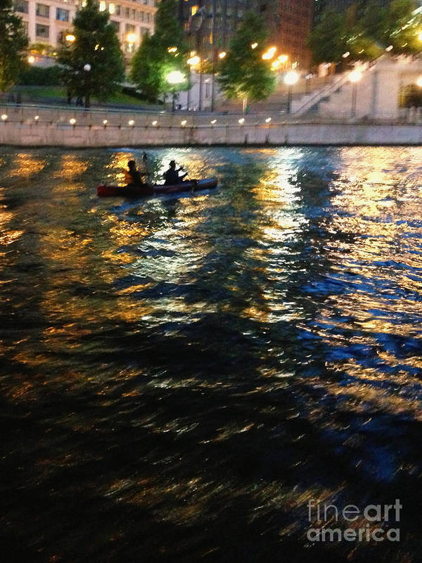 Kayak; Boat; Boaters; Tandem; Two; Water; Lake; River; Bay; City; Lights; Abstract; Reflection; Night; Nightttime; Waterfront; Silhouette; Colors; Colorful; Trees; Citywalk; Chicago; Chicago River; Illinois Art Print featuring the photograph Night Kayak Ride by Margie Hurwich