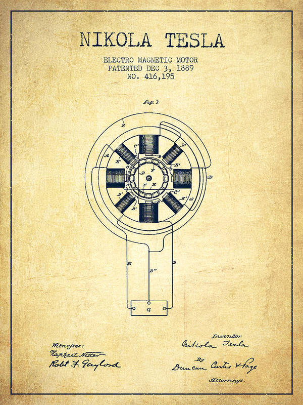 Nikola Tesla Patent Drawing From 1889 Vintage Art Print